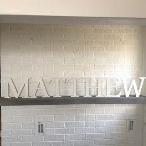 "Potterybarn kids 8"" letters spells Matthew"